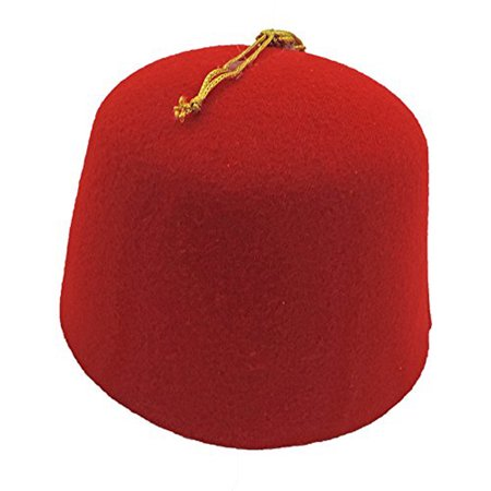 Red Felt Dr. Who Shriner Aladdin Fez Hat w/ Gold Tassel