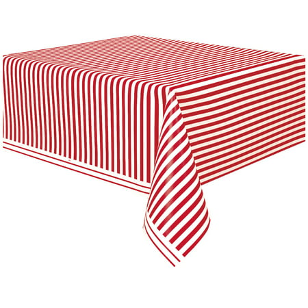 Table Striped ((3 pack) Red Striped Plastic Party Tablecloth, 108 x)