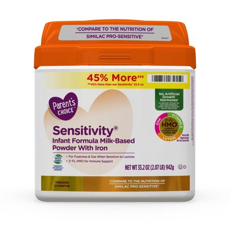Rice Dry Formula (Parent's Choice HMO & Non-GMO Sensitivity® Infant Formula with Iron, 33.2 oz)