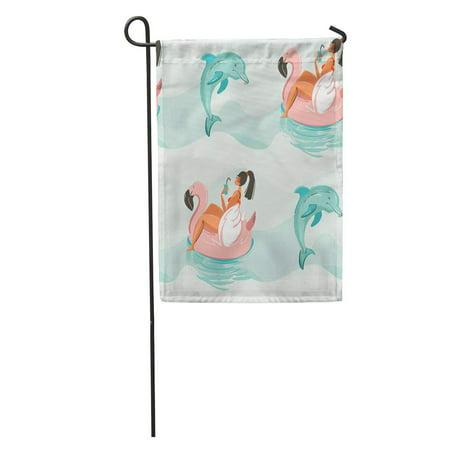 JSDART Abstract Cute Summer Time Beach Girl Swimming on Pink Flamingo Garden Flag Decorative Flag House Banner 12x18 inch - image 1 de 2