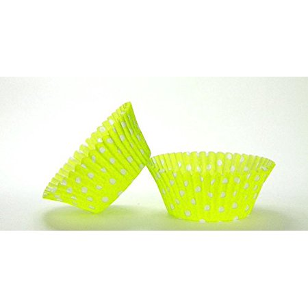 50pc Lime Green Polka Dot Design Standard Size Cupcake Baking Cups Liners Wrappers