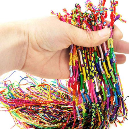 10 PCS Handmade Thread Woven Friendship Cords Hippie Anklet Braid Bracelet Colorful Cords Bracelet (Friend Ship Bracelets)