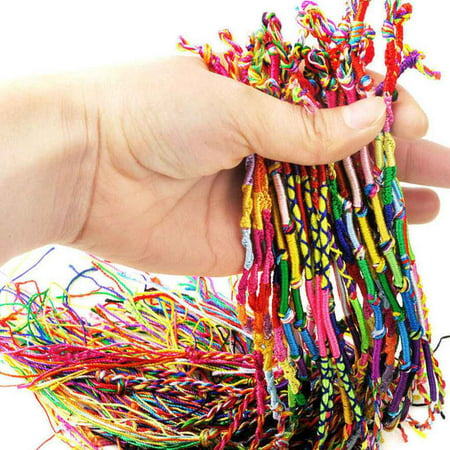 10 PCS Handmade Thread Woven Friendship Cords Hippie Anklet Braid Bracelet Colorful Cords Bracelet