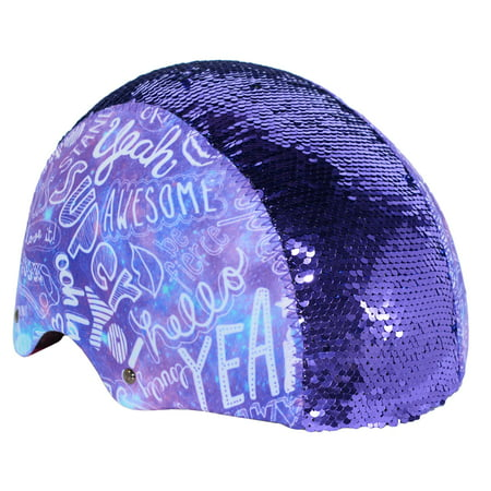 LittleMissMatched Youth, Multi-Sport Magic Sequin Helmet, Purple, For Ages (Youth Riding Helmet)