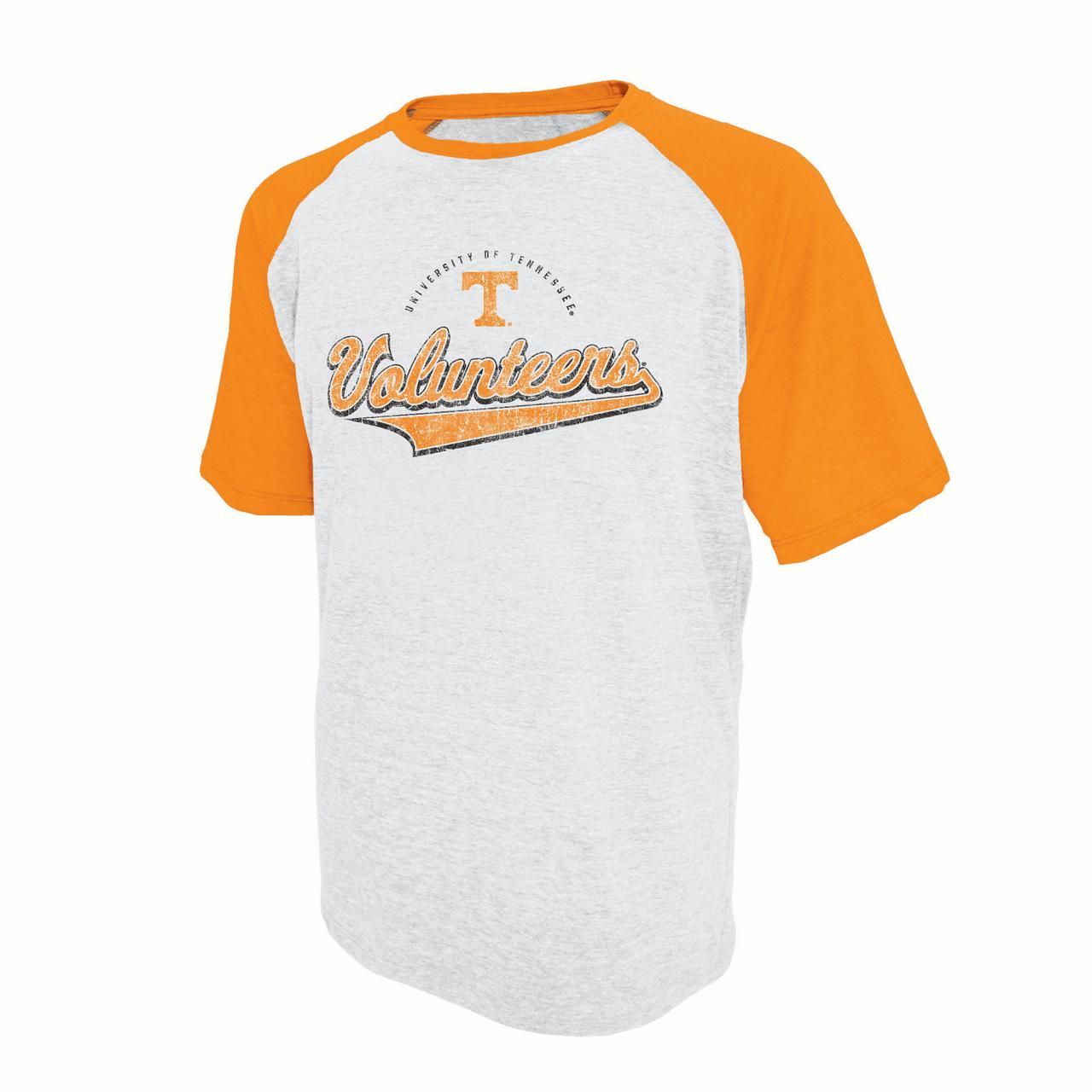 Men's Russell White Tennessee Volunteers Athletic Fit Distressed T-Shirt