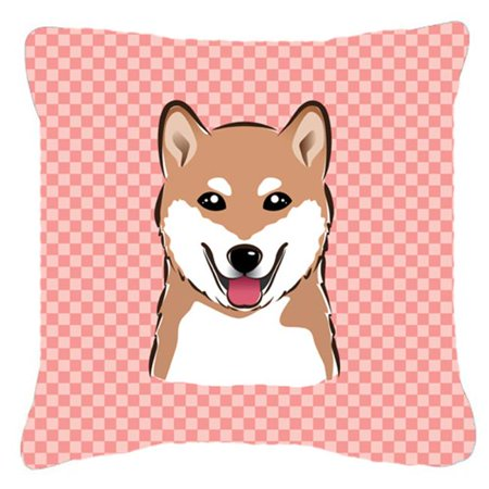 Carolines Treasures BB1225PW1818 Checkerboard Pink Shiba Inu Fabric Decorative Pillow, 18 x 18 In. - image 1 of 1