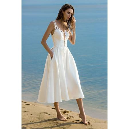 629457b439d UKAP - Formal Dress For Women Spaghetti Strap Sexy White Lace Wedding  Dresses Deep V-neck Sleeveless Evening Party Dress With Pocket - Walmart.com