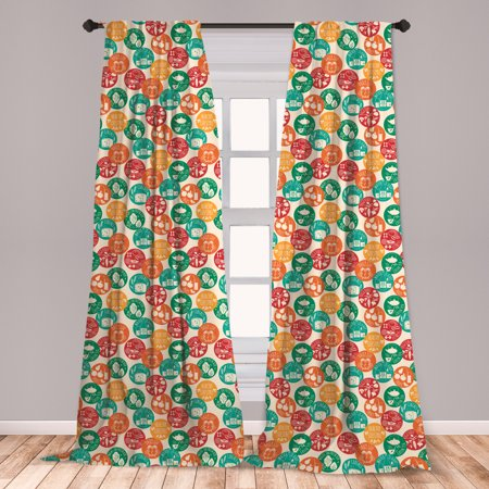 Fitness Curtains 2 Panels Set, Healthy Lifestyle Colorful Spots Green Tea Cereals Water Walks Retro, Window Drapes for Living Room Bedroom, Multicolor, by (Water Spots On Car Windows Wont Come Off)