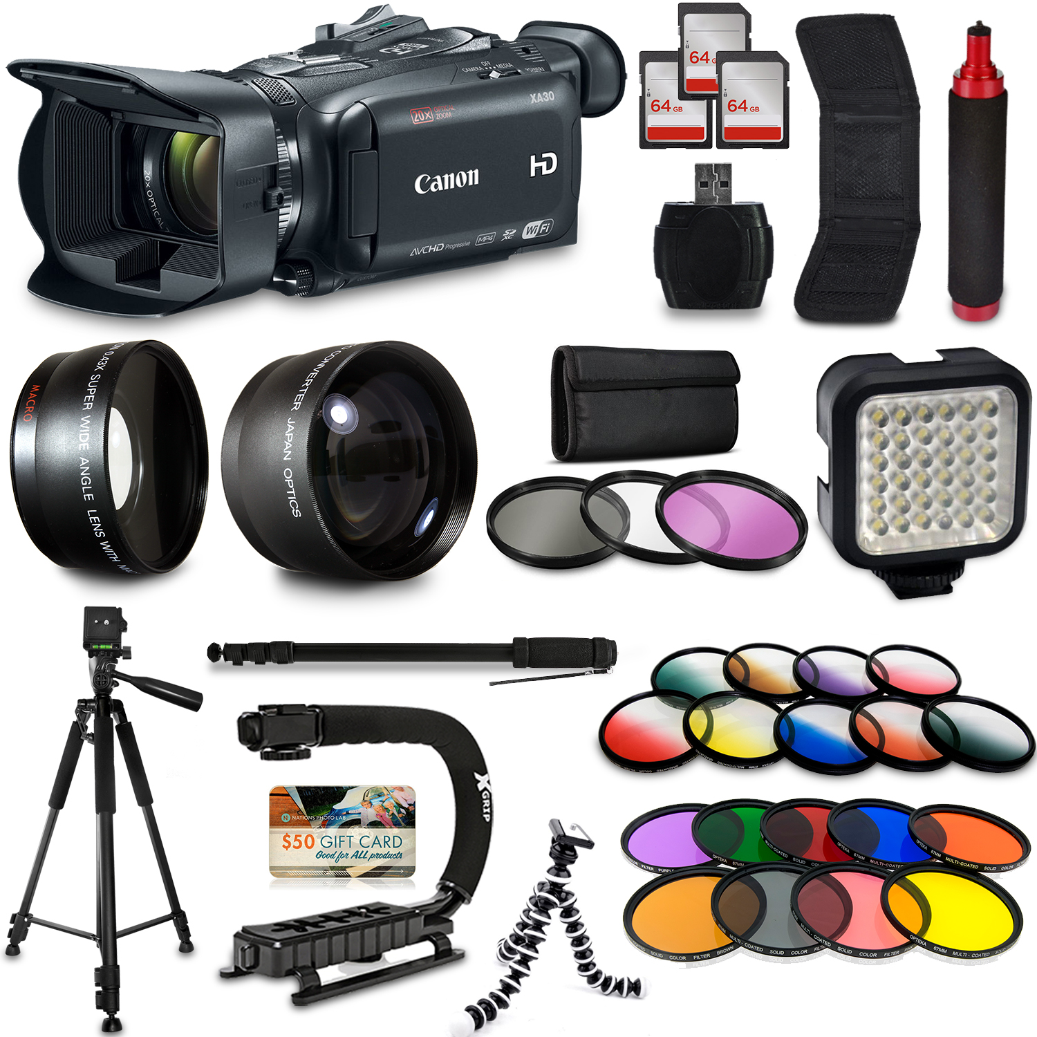 Canon XA30 HD Professional Video Camcorder + Mega Accessory Kit with Macro and Telephoto Lenses + Filters + LED + More CAXA30K9