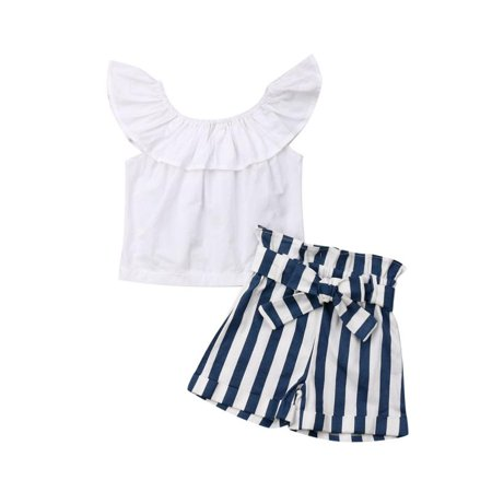 Cute Kid Toddler Baby Girl Off Shoulder Tops Striped Pants Shorts Outfit Clothes