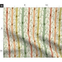 Spring Forest Trees Woodland Green Summer Tree Fabric Printed by Spoonflower BTY