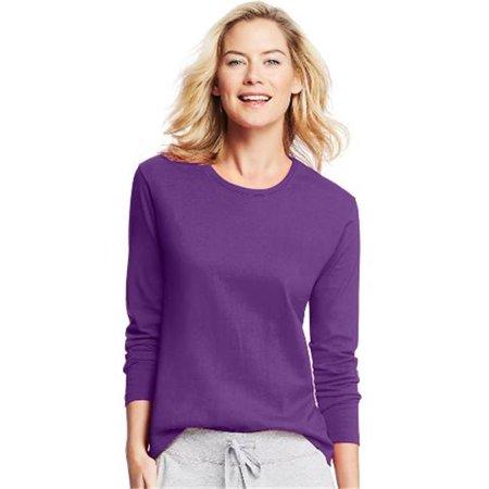 O9133 Womens Long-Sleeve Crewneck T-Shirt, Violet Splendor - 2XL