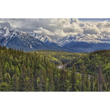 A viewpoint along the Stewart Cassiar Highway shows the Coast Mountains which form part of the Rocky Mountains British Columbia Canada Stretched Canvas - Robert Postma  Design Pics (19 x