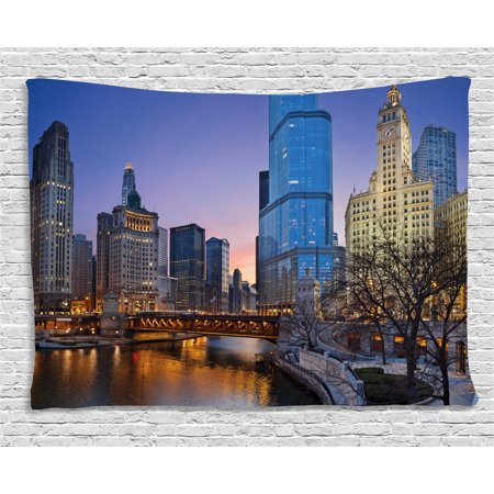 (Landscape Tapestry, Usa Chicago Cityscape with Rivers Bridge and Skyscrapers Cosmopolitan City Image, Wall Hanging for Bedroom Living Room Dorm Decor, 60W X 40L Inches, Multicolor, by Ambesonne)