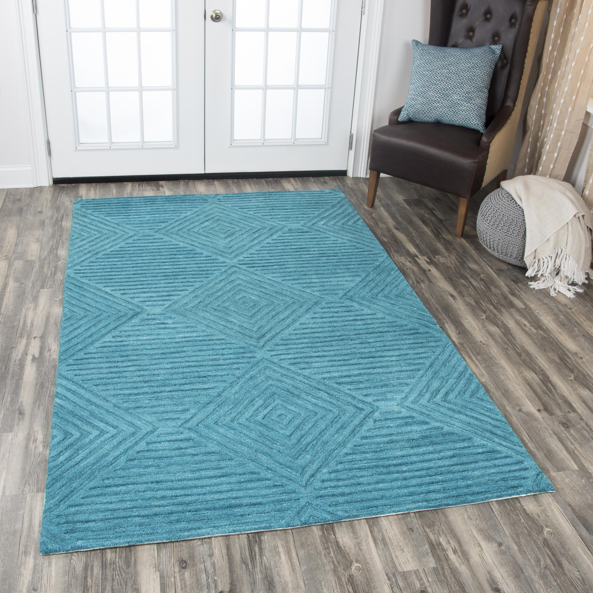 Rizzy Home ID918A Teal 10' x 13' Hand-Tufted Area Rug