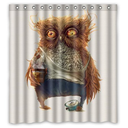 GreenDecor Cartoon Owl Waterproof Shower Curtain Set with Hooks Bathroom Accessories Size 66x72 inches ()