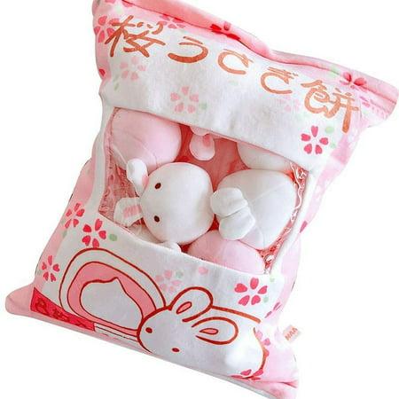 Magik Plush Stuffed Animal Imitation Snack Bag Cushion Toy Pillow with Little Dolls (Rabbit Pink, Large)