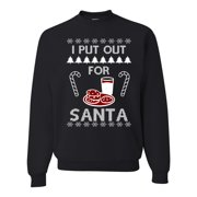 I Put Out for Santa Funny Cookies Milk Candy Adult Mens Ugly Christmas Sweater