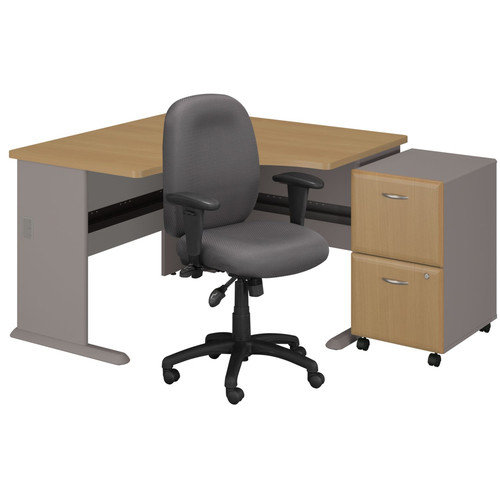Bush Business Furniture Series A Left Corner Desk with 2 Drawer File and Chair