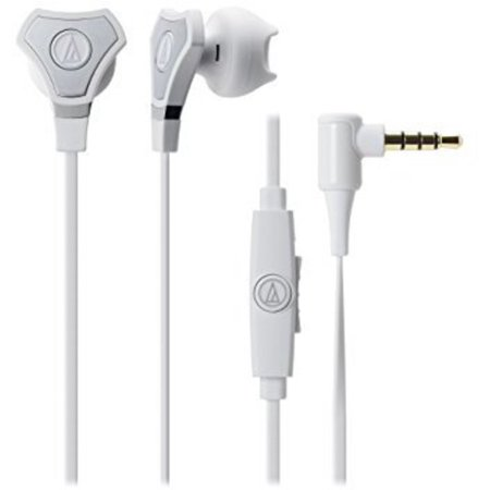 Audio Technica ATHCHX5ISWH SonicFuel Hybrid Earbud Headphones for Smartphones, White