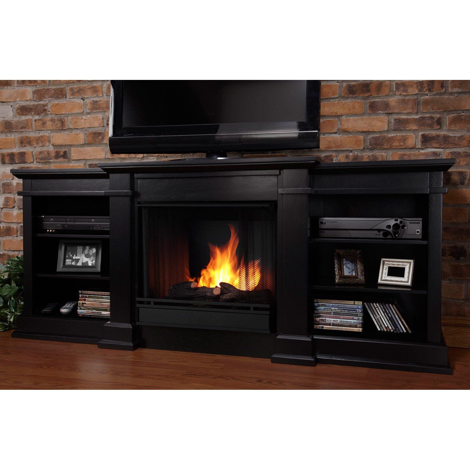 Real Flame Fresno Ventless Gel Fireplace - Black