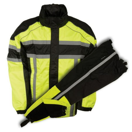 Milwaukee Leather Men's Black & Neon Green Rain Suit Water Resitant w/ Reflective Tape  Neon Green - Lady Leather Race Suit