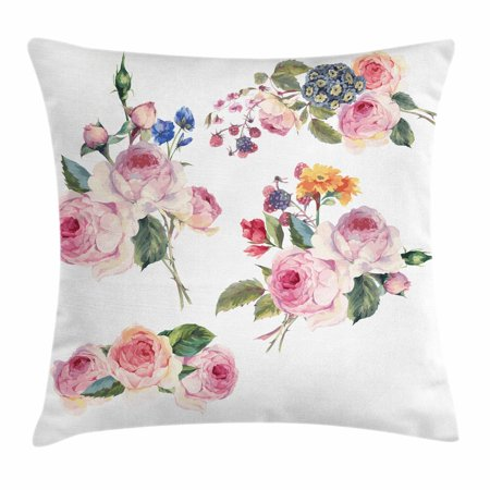 (Rose Throw Pillow Cushion Cover, Vintage Floral Bouquets with English Roses Wildflowers Botanical Natural Summer Time, Decorative Square Accent Pillow Case, 16 X 16 Inches, Multicolor, by Ambesonne)