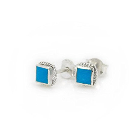 Sterling Silver Stone Inlay Square Stud Twist Rope Post Earrings, Turquoise 4mm