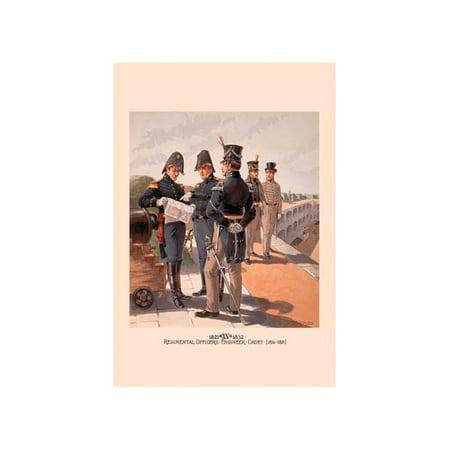 Regimental Officers , Engineer And Cadet Print (Unframed Paper Print 20x30) (Engineer Regimental Crest)