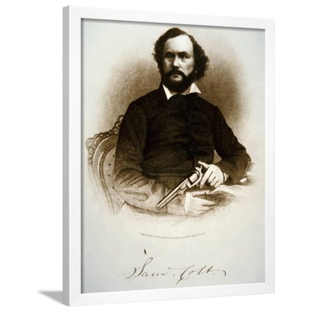 Samuel Colt Holding One of His Percussion Revolvers (Engraving) Framed Print Wall Art By (Single Action Colt 45 Revolver For Sale)