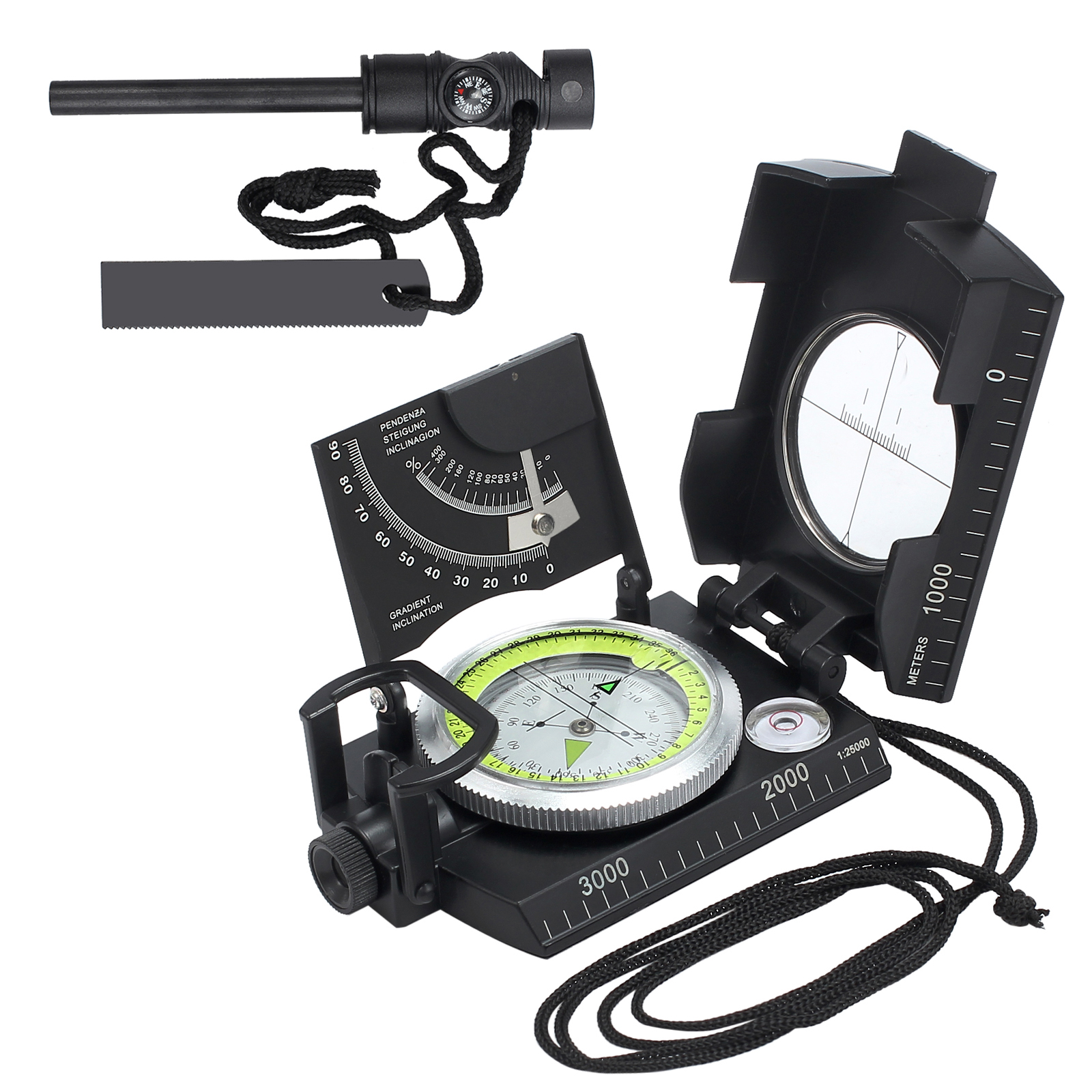 ESYNIC Professional Compass Metal Waterproof IP65 Compass Sighting  Clinometer with Carry Bag for Camping Hunting Hiking Geology and Other  Outdoor