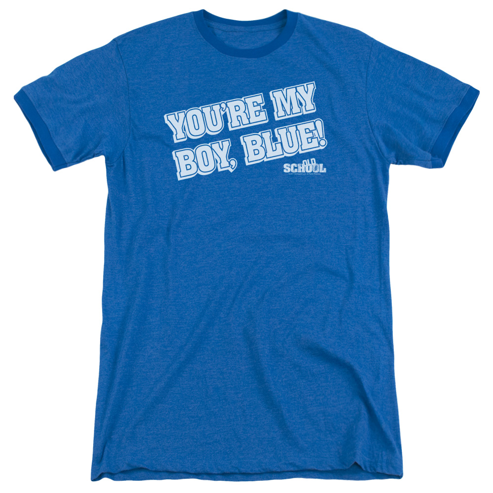 Old School My Boy Blue Mens Adult Heather Ringer Shirt