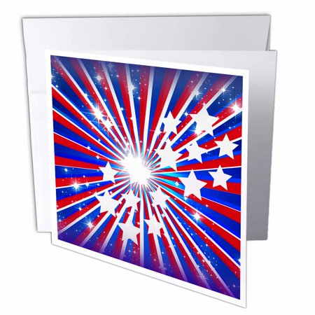 3dRose Red White And Blue USA Patriotic Sparkle Star Burst For Independence Day Fourth of July, Greeting Cards, 6 x 6 inches, set of (Sparkle Burst Brads)