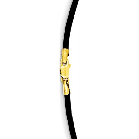 14k Yellow Gold 2mm 16in Black Leather Cord (16in Necklace Set)
