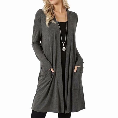 Akoyovwerve Womens Cardigan Sweater Long-sleeve Top Casual Solid Open Front Jacket,Gray