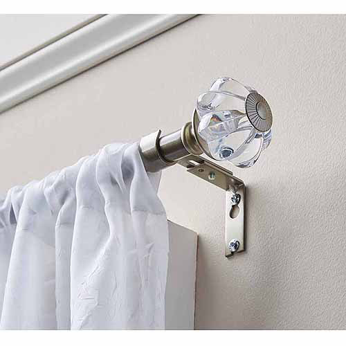 "Better Homes and Gardens Clear Knob 5/8"" Curtain Rod Set, Nickel"