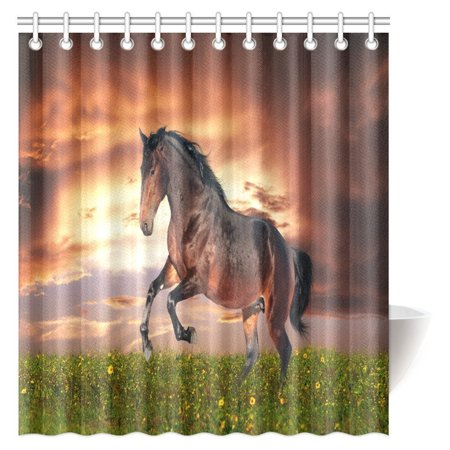Mypop Beautiful Horse Shower Curtain Bathroom Decor Masculine Running Horse Southwestern Home