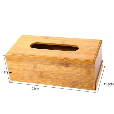 AkoaDa Plain Wooden Tissue Box Cover Wood Holder Car Home Paper Storage  Novelty ()