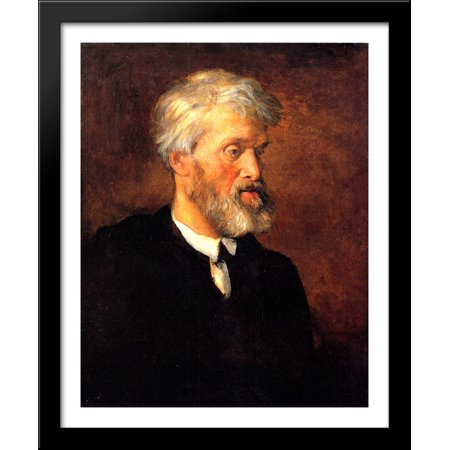 Portrait Of Thomas Carlyle 28X34 Large Black Wood Framed Print Art By George Frederick Watts