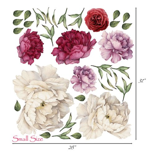 Innovative Stencils Vintage Bouquet Peony Flowers Wall Decal