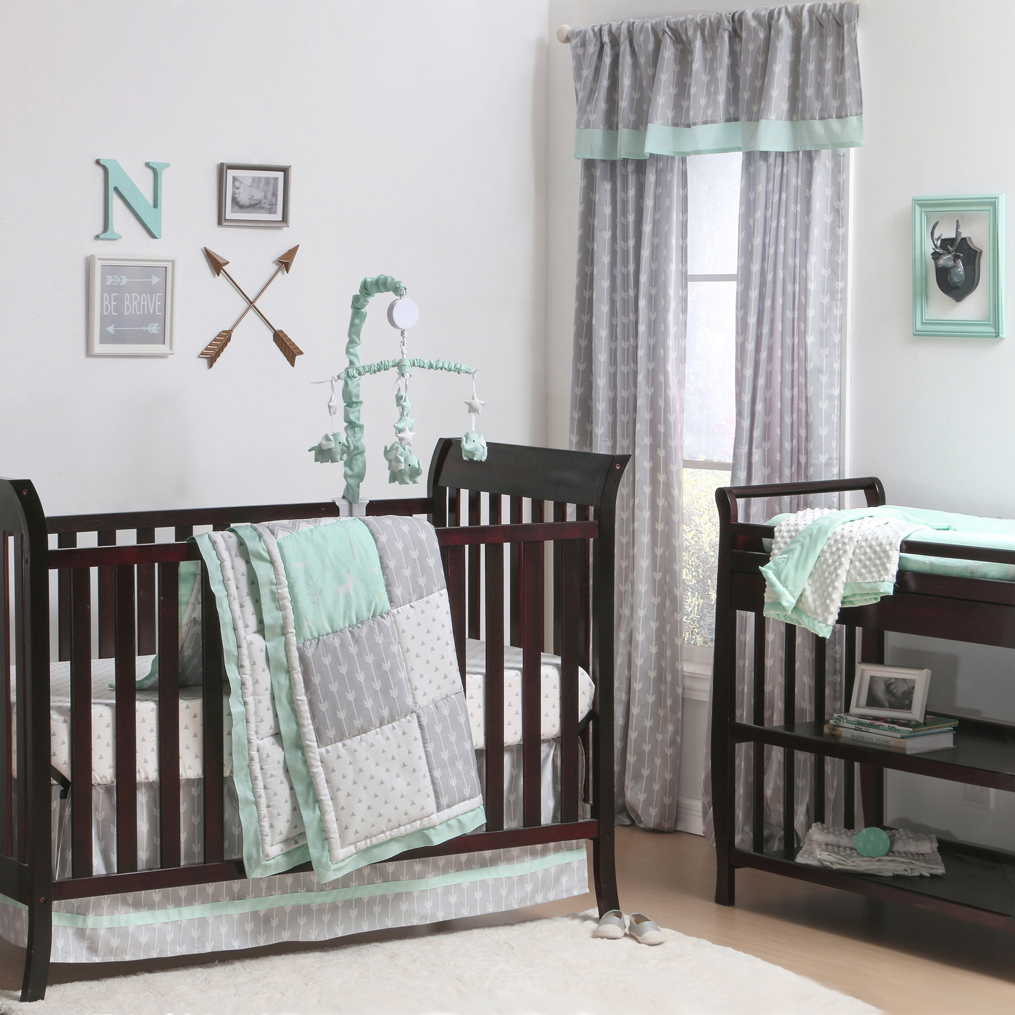 The Peanut Shell 3 Piece Baby Crib Bedding Set - Mint Green Woodland and Geometric Patchwork - 100% Cotton Quilt, Crib Skirt and Sheet