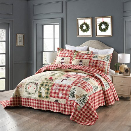 MarCielo 3 Piece Christmas Quilt Set Rustic Lodge Deer Quilt Quilted Bedspread Printed Quilt Bedding Throw Blanket Coverlet Lightweight Bedspread Ensemble/Snowman Quilt ()
