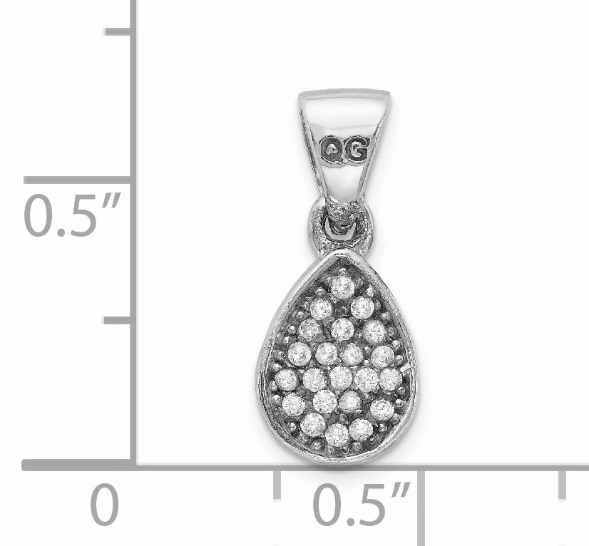 925 Sterling Silver Cubic Zirconia Cz Teardrop Pendant Charm Necklace Fine Jewelry Gifts For Women For Her - image 1 de 2