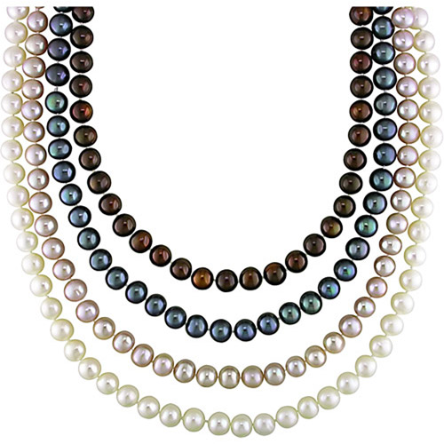 6-7mm Multi-Colored Cultured Freshwater Pearl Sterling Silver 4-Piece Necklace Set, 18""
