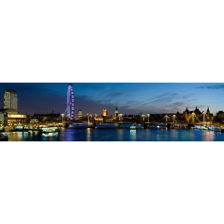 London Eye and Central London Skyline at dusk South Bank Thames River London England Canvas Art - Panoramic Images (27 x 9) - Halloween Central London 2017