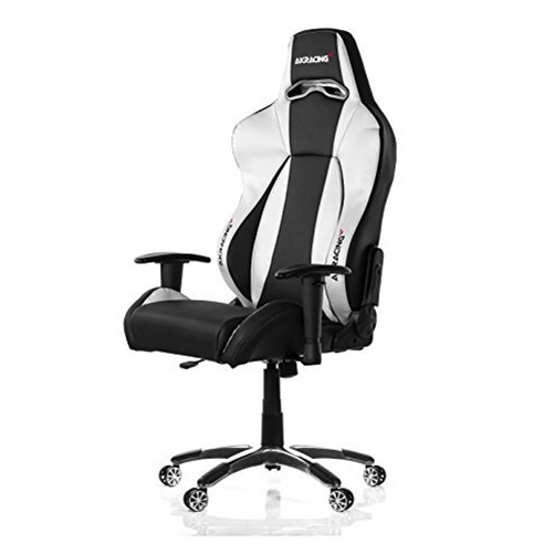 Image of ERGONOMIC GAMING CHAIR SILVER ADJ ARMS ND HEIGHT RECLINE PLEATHER