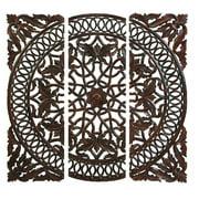 Decmode Wood Wall Panels, Set of 3, Brown