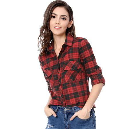 Women Checks Roll Up Sleeves Flap Pockets Flannel Plaid Shirt Black,red XS (US 2)