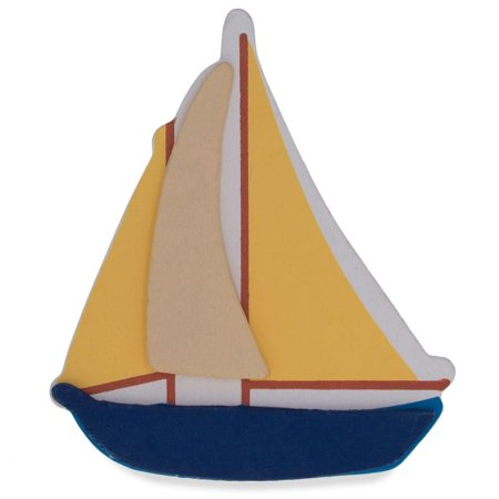 Wooden Hand Painted Sailboat Cut Out 4.5 Inches](Grinch Wooden Cut Out)