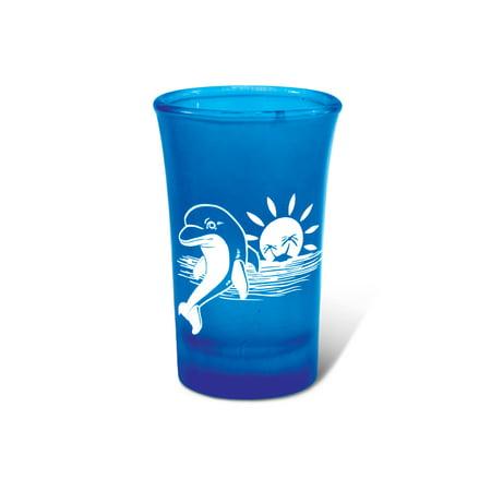 Blue Neon Tall Shot Glass Dolphin